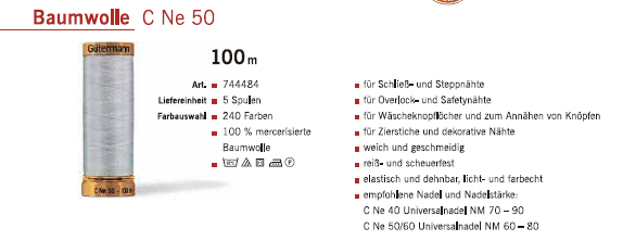 Gütermann 744484 BW 100m/5Sp.