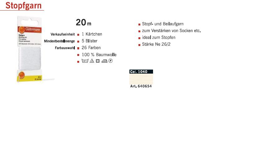 Gütermann 640654 Stopfgarn SB