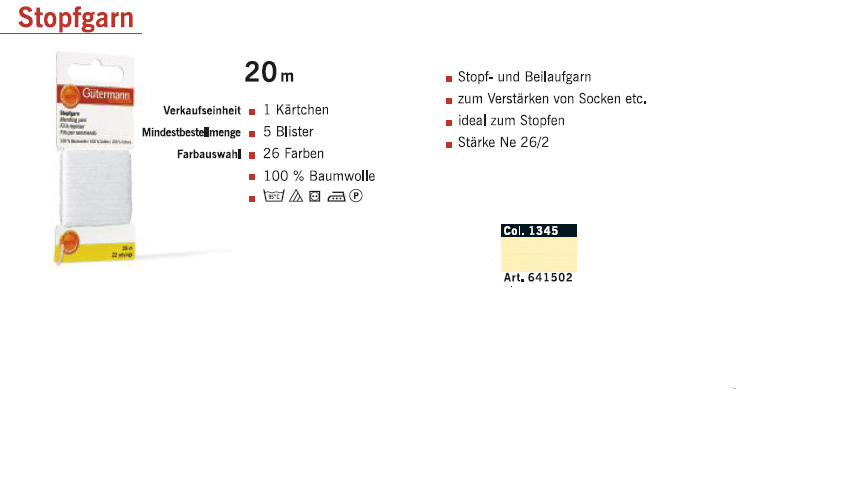 Gütermann 641502 Stopfgarn SB