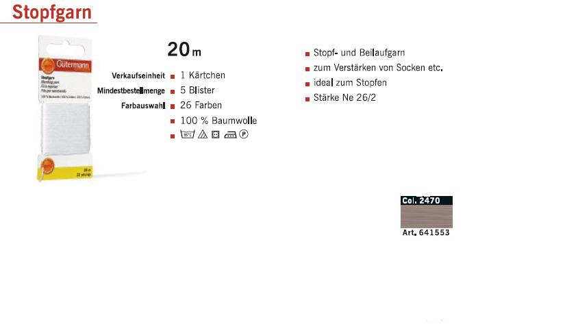 Gütermann 641553 Stopfgarn SB