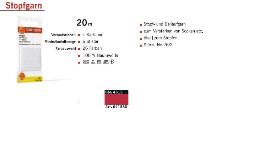 Gütermann 641588 Stopfgarn SB