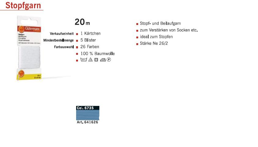 Gütermann 641626 Stopfgarn SB