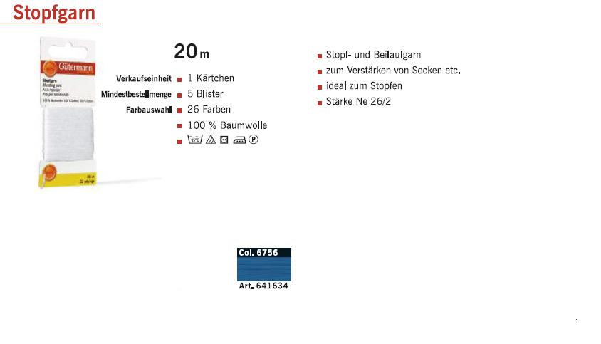 Gütermann 641634 Stopfgarn SB