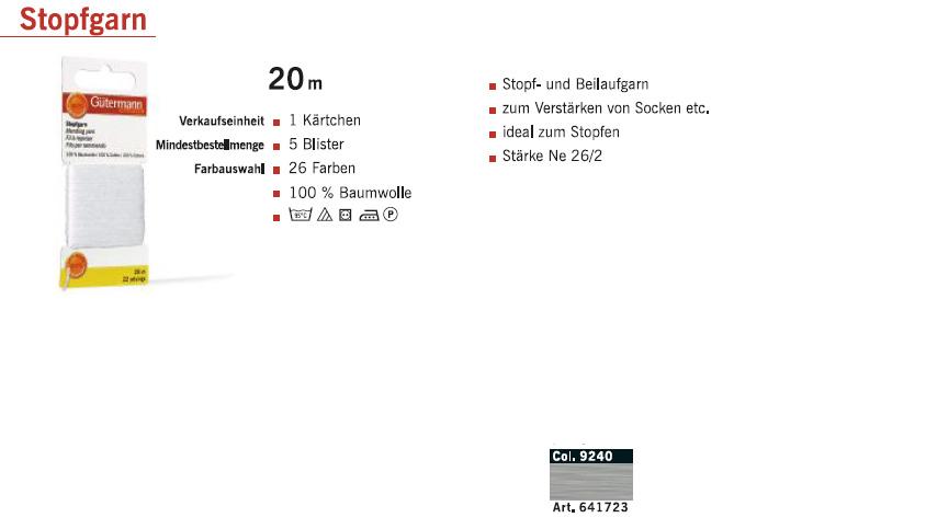 Gütermann 641723 Stopfgarn SB