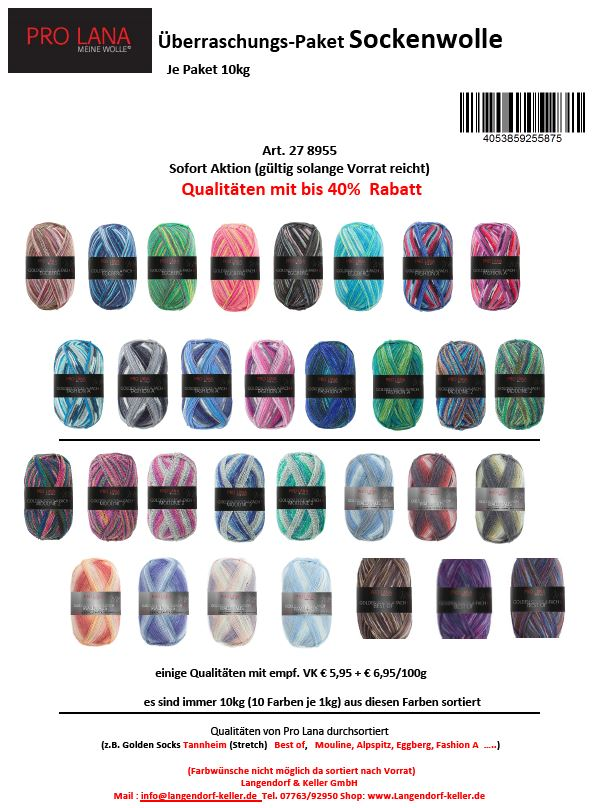 Überraschungspaket Sockenwolle  100g color