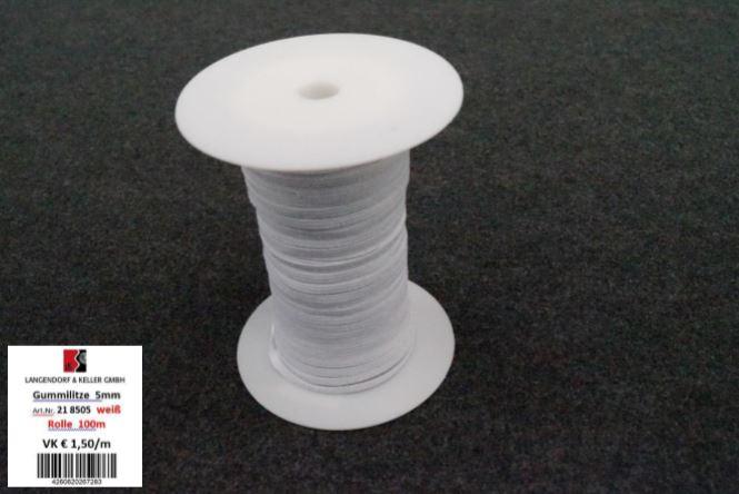 Gummilitze 5mm weiß 100m Rolle