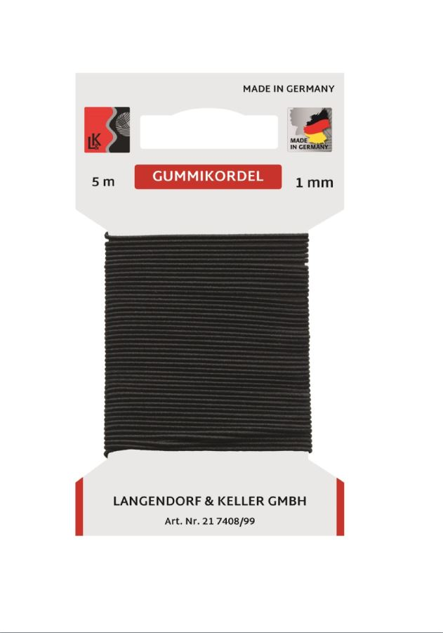 L&K Gummikordel 1mm SB (Karte5m)  Made in Germany
