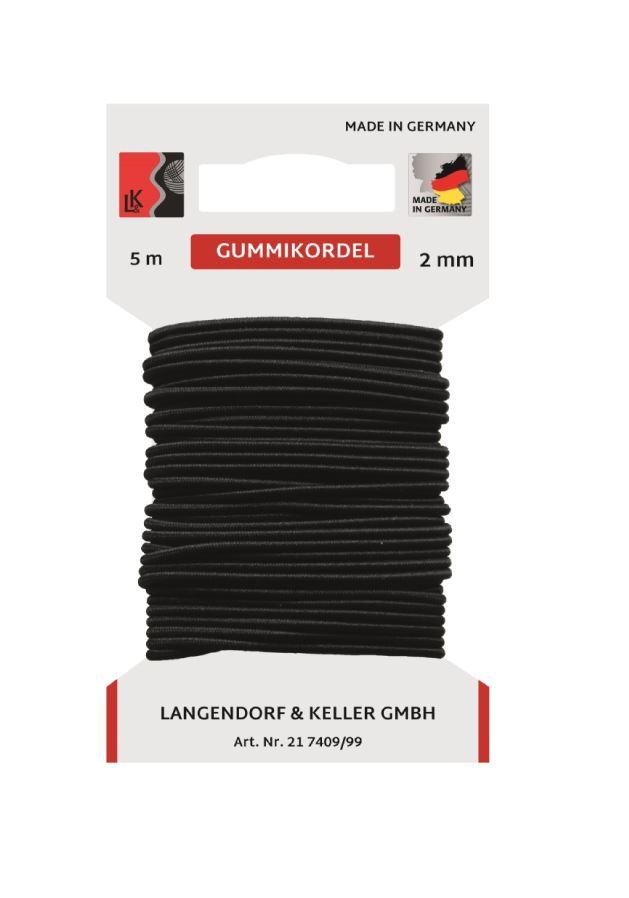 L&K Gummikordel 2mm SB (Karte 5m) Made in Germany
