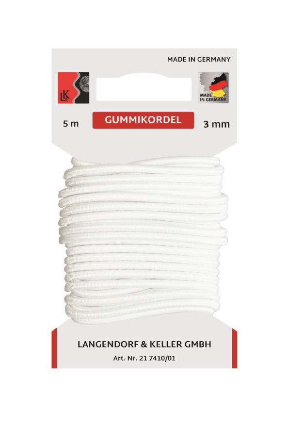 L&K Gummikordel 3mm SB (Karte 5m) Made in Germany
