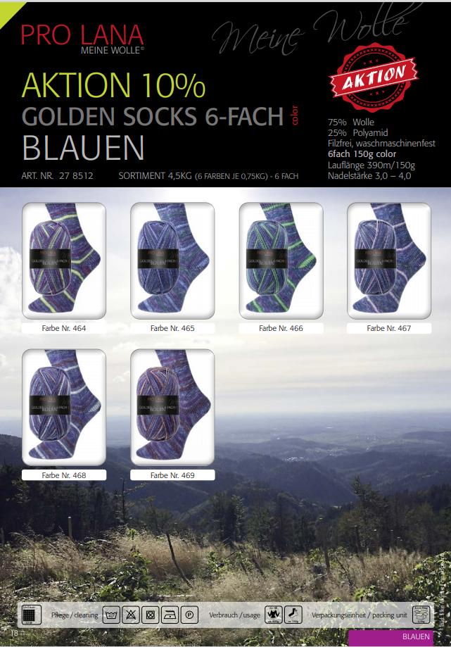PL Golden Socks BLAUEN  6 fach 150g