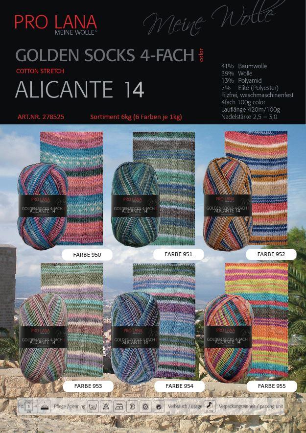 Pro Lana Golden Socks Alicante 14  100g Sort. 6kg