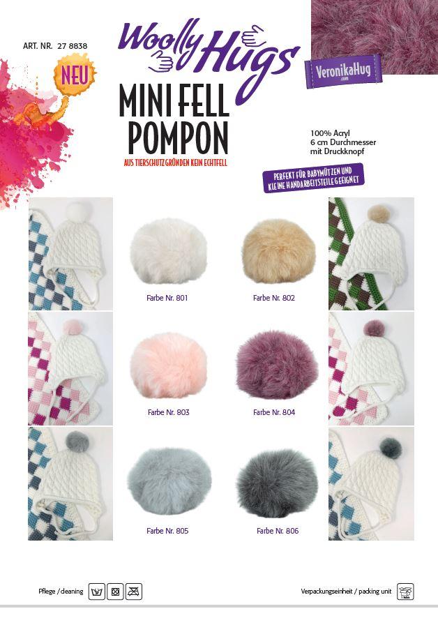 Woolly Hugs Mini Fell Pompon 6cm einzeln